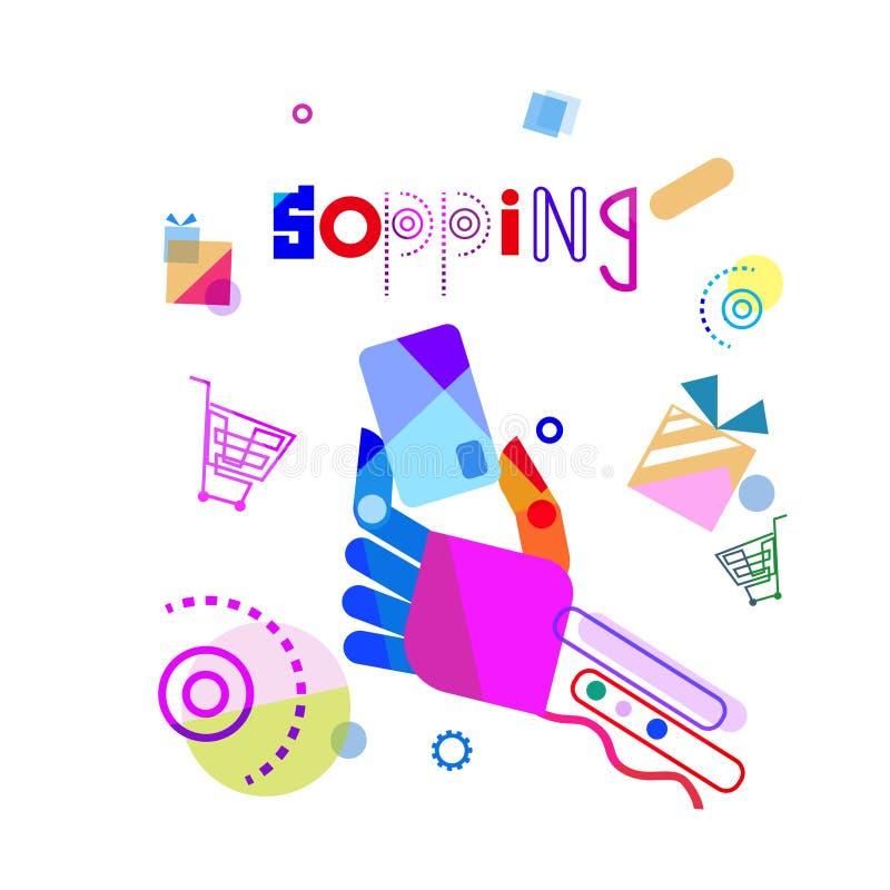 Mano que sostiene la tarjeta de crédito, bandera móvil de la compra de Internet del pago del concepto que hace compras stock de ilustración