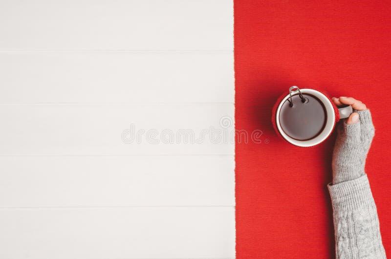Mano que sostiene la taza de té Visión superior con el espacio de la copia fotografía de archivo
