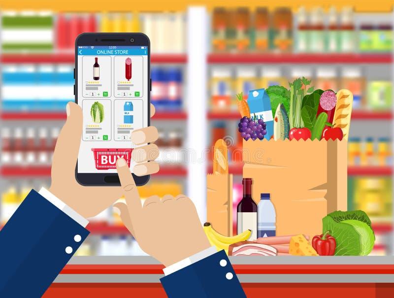 Mano que sostiene smartphone con el app que hace compras libre illustration