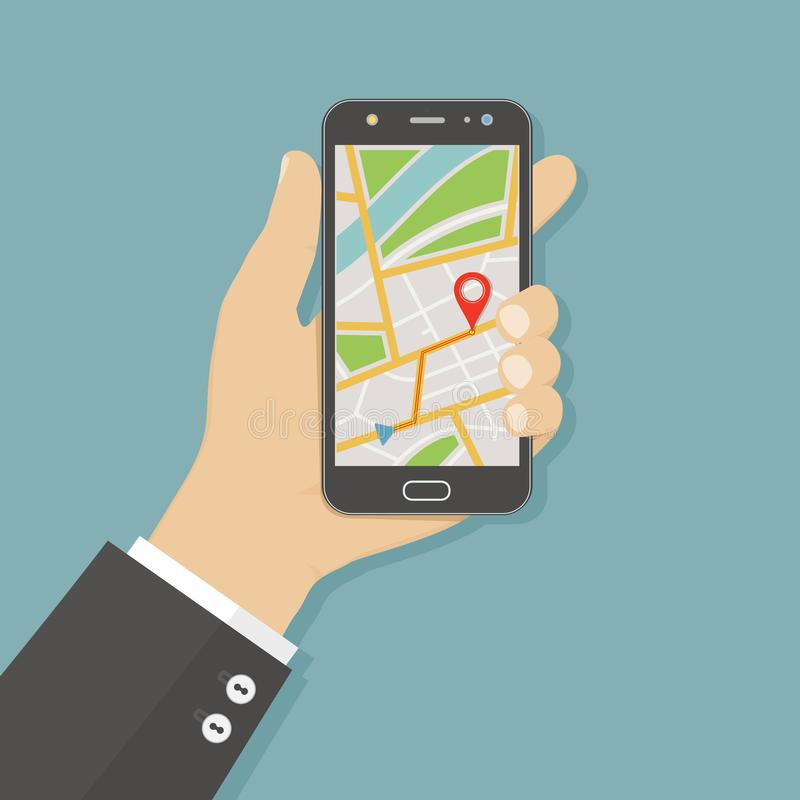 Mano que sostiene smartphone con el mapa de la navegación de los gps en la pantalla Concepto móvil de la navegación Ejemplo plano ilustración del vector