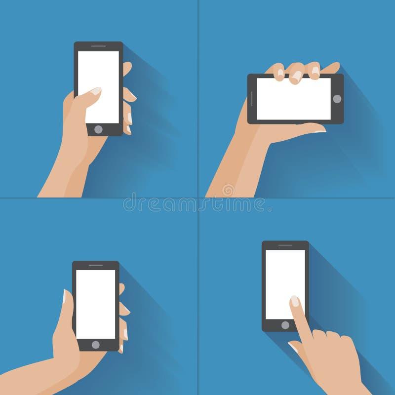 Mano que sostiene smartphone con la pantalla en blanco ilustración del vector