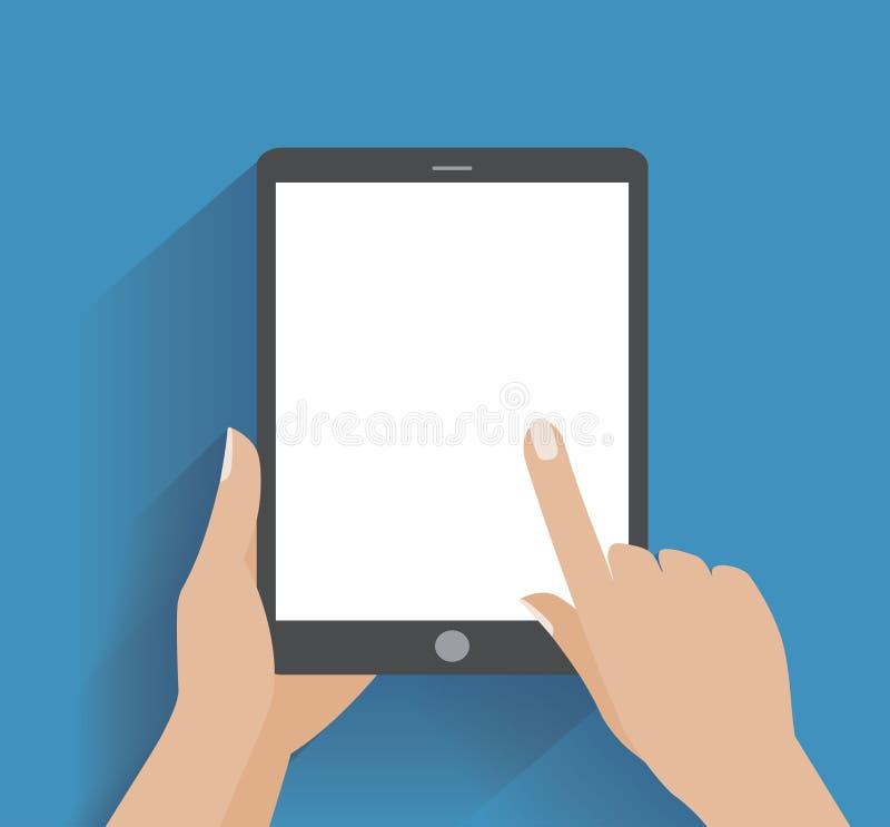 Mano que sostiene smartphone con la pantalla en blanco stock de ilustración