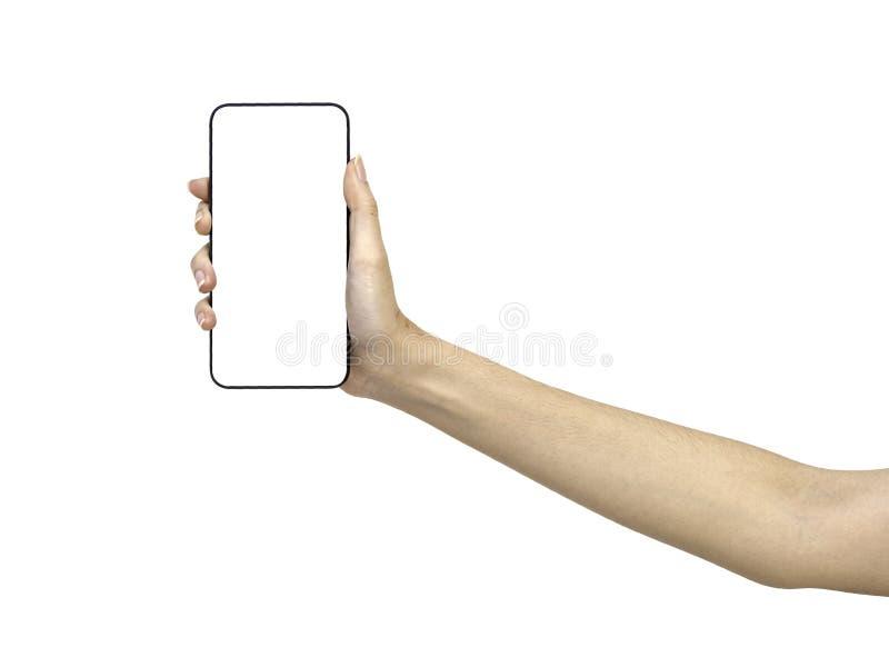 Mano que sostiene smartphone de la maqueta foto de archivo libre de regalías