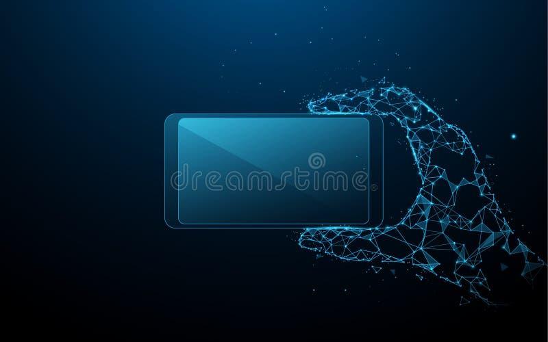 Mano que sostiene smartphone horizontal de ines, de triángulos y del diseño del estilo de la partícula ilustración del vector