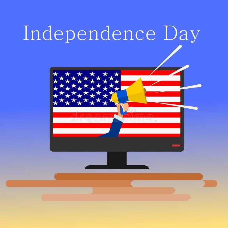 Mano que sostiene un megáfono o un megáfono con el cuarto del Día de la Independencia de julio Vector stock de ilustración