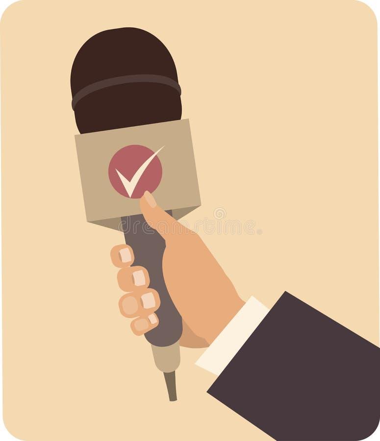 Mano que sostiene un micrófono stock de ilustración