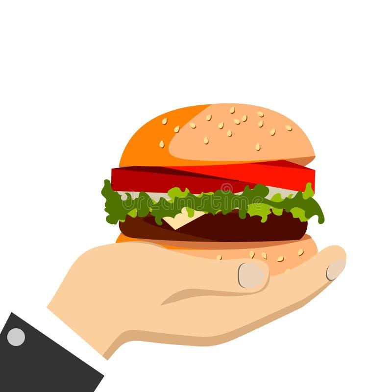 Mano que sostiene una hamburguesa stock de ilustración