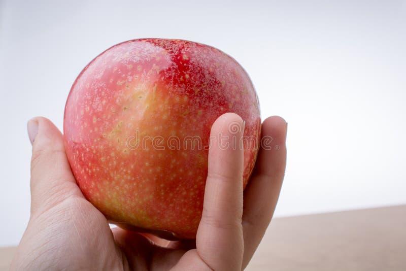 Download Mano Que Sostiene Una Manzana Roja En La Madera Imagen de archivo - Imagen de otoño, alimento: 100532529