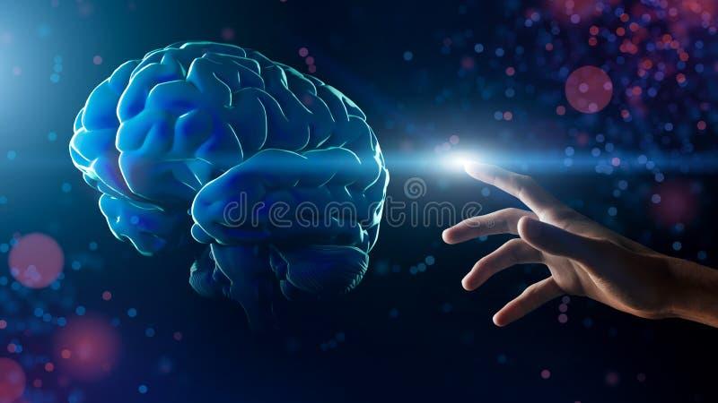 Mano que toca el cerebro artificial en fondo del brillo libre illustration