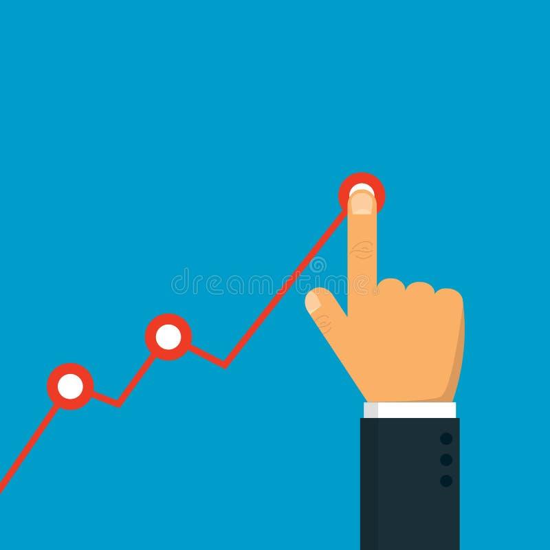 Mano que toca encima de sostener la flecha de la carta Concepto del beneficio El hombre de negocios maneja el gráfico financiero  ilustración del vector
