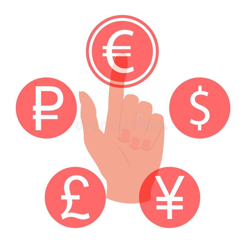 Mano que toca, presionando o señalando un botón euro stock de ilustración