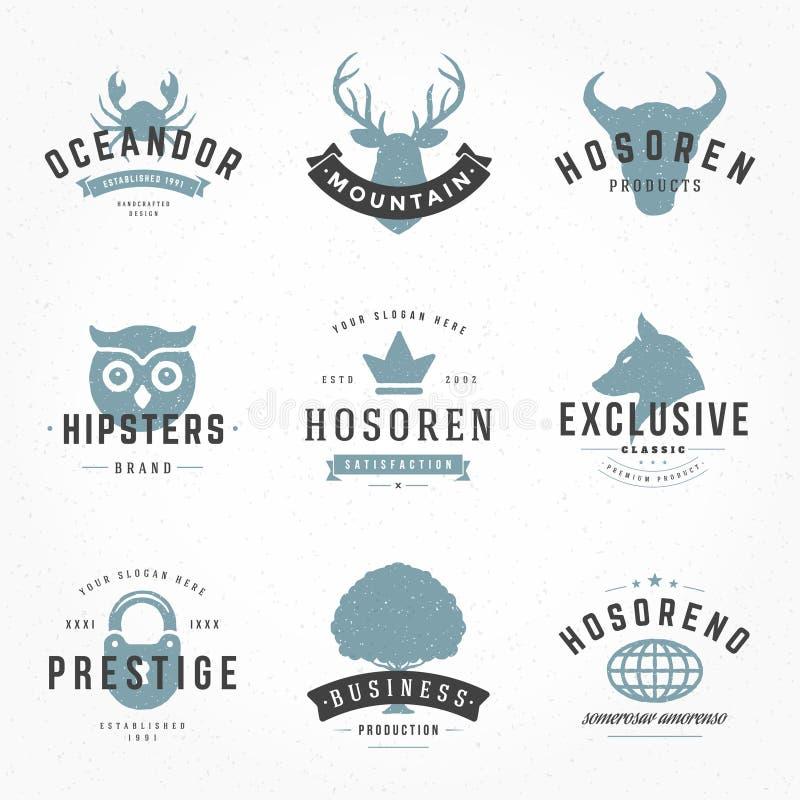 Mano retra de los logotipos o de las insignias del vintage dibujada libre illustration