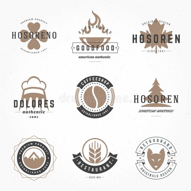 Mano retra de los logotipos o de las insignias del vintage dibujada stock de ilustración