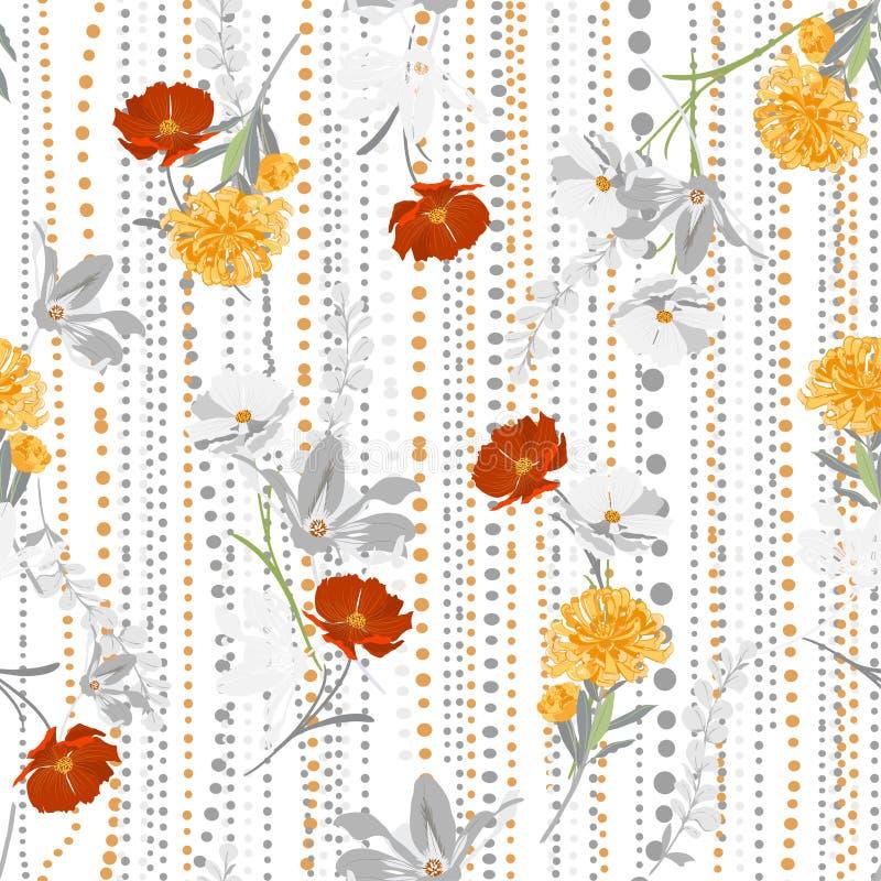 Mano retra que dibuja vector inconsútil floral colorido del modelo encendido y la línea humor de los polkadots del jardín elegant ilustración del vector