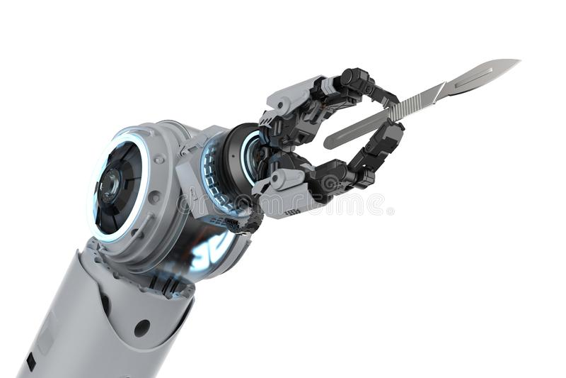 Mano robótica con el escalpelo stock de ilustración