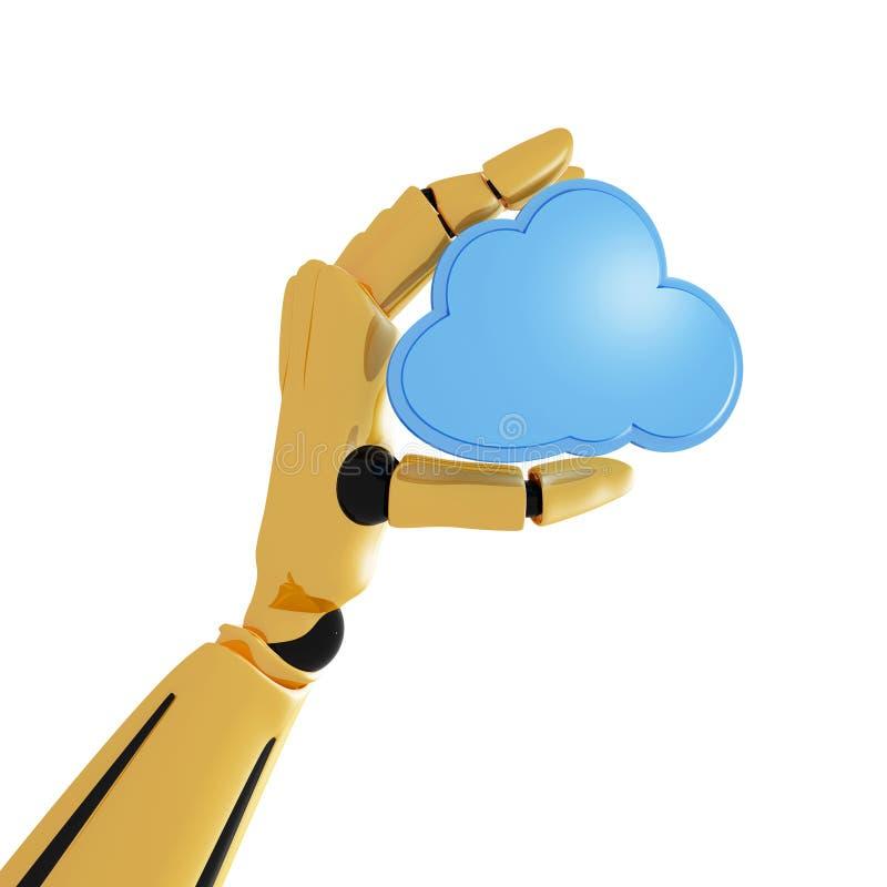 Mano robótica con el icono computacional de la nube ilustración del vector