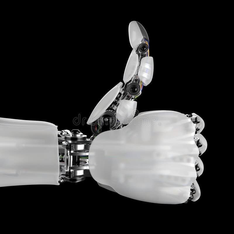 Mano robótica que da los pulgares para arriba en un fondo negro 3d rinden con un workpath libre illustration