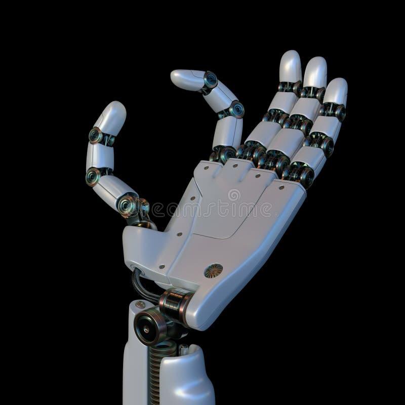 Mano robótica su texto entre los fingeres