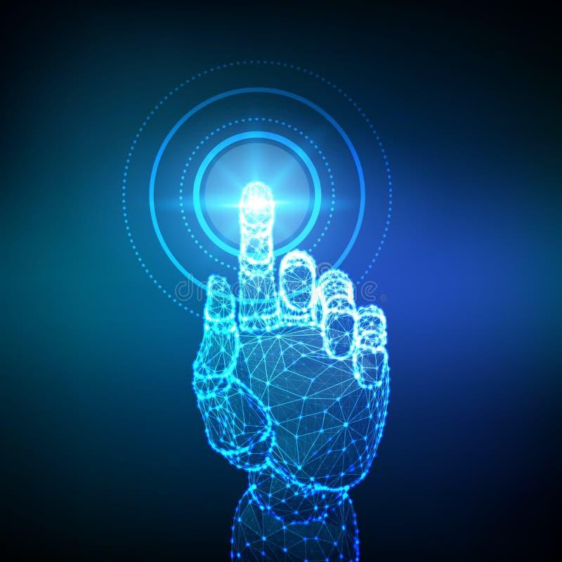 Mano rob?tica que toca el interfaz digital Realidad virtual Toque el wireframe polivin?lico bajo futuro Concepto de mundo de la c stock de ilustración