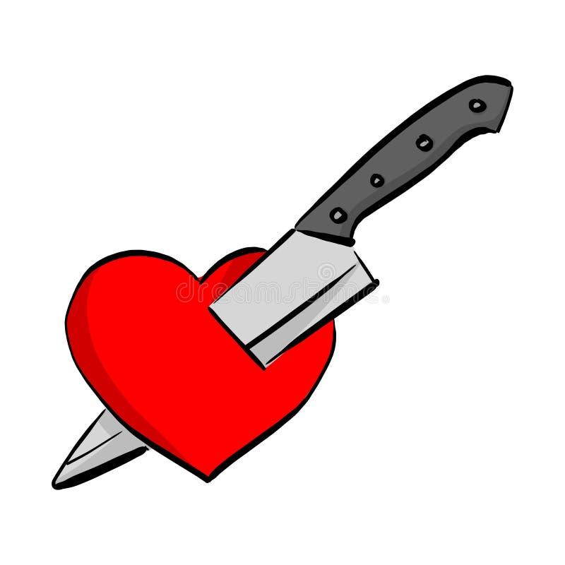 Mano roja del garabato del bosquejo del ejemplo del vector de la forma del corazón de la puñalada del cuchillo dibujada con las l stock de ilustración