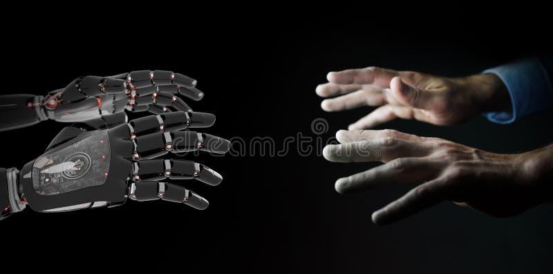 Mano roja del robot que hace el contacto con la representación humana de la mano 3D libre illustration