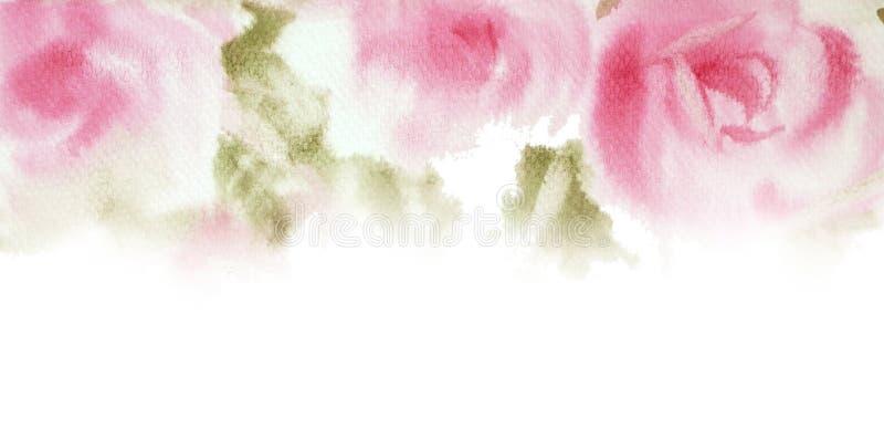 Mano rosada de la acuarela de las rosas dibujada Ahorre el diseño de tarjeta de fecha Invi fotografía de archivo