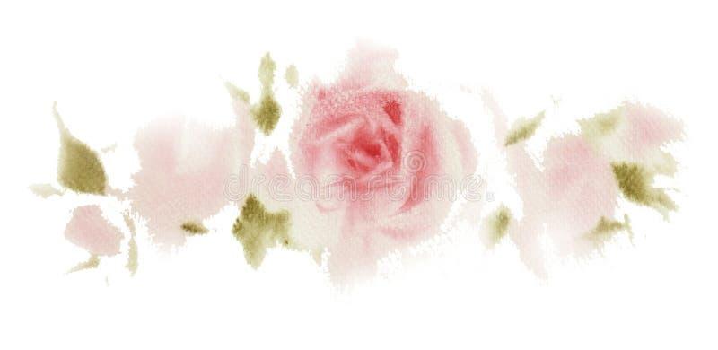 Mano rosada de la acuarela de las rosas dibujada Ahorre el diseño de tarjeta de fecha Invi stock de ilustración