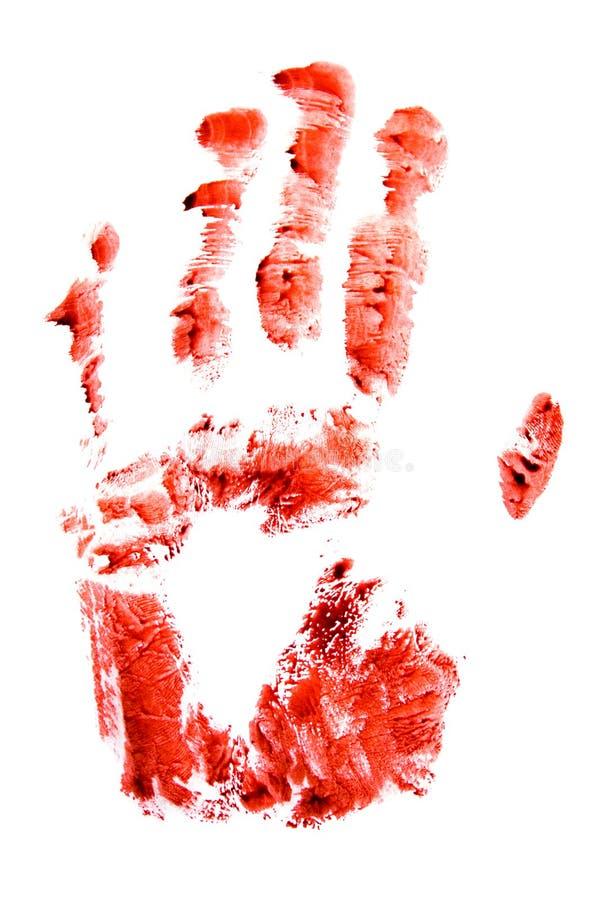 Mano rossa sanguinosa e stampa delle dita immagine stock libera da diritti