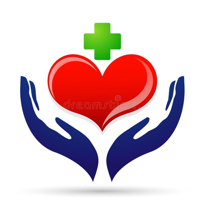 Mano sana medica del cuore di cura del cuore che ciao logo di vettore dell'elemento dell'icona del cuore della gente su fondo bia illustrazione vettoriale