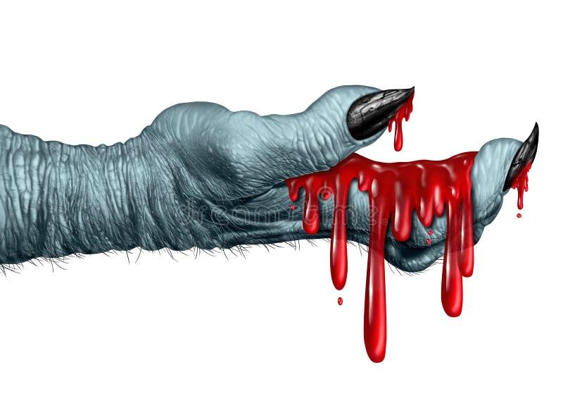 Mano sangrienta del zombi ilustración del vector