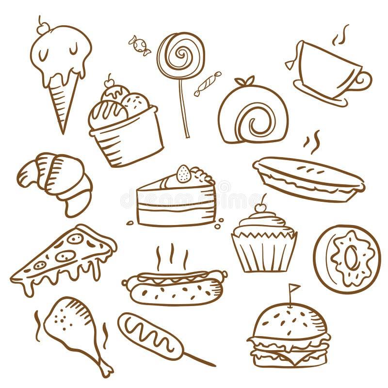 Mano simple de la comida dibujada stock de ilustración
