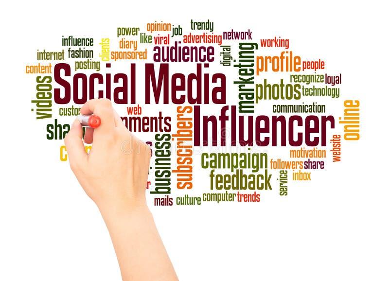 Mano social de la nube de la palabra del influencer de los medios que escribe concepto stock de ilustración