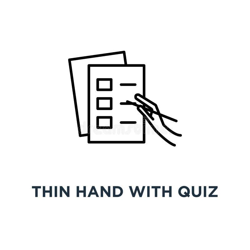 mano sottile con l'icona di compito della lista di controllo o di quiz, simbolo del mucchio delle carte con il DOS e fare non o i royalty illustrazione gratis