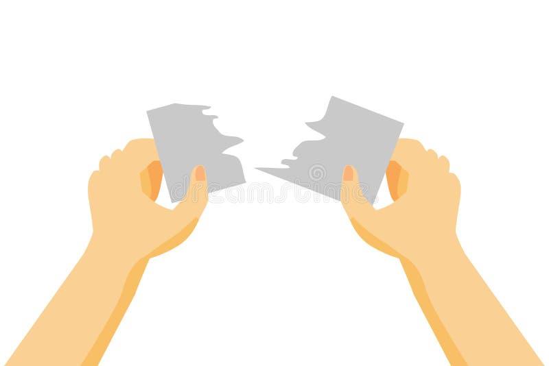 Mano, strappante un pezzo di carta in bianco o di carta illustrazione vettoriale