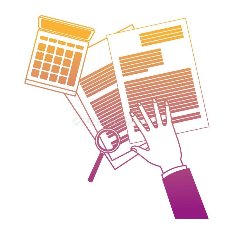 Mano sui documenti e calcolatore con le linee dell'arcobaleno della lente d'ingrandimento royalty illustrazione gratis