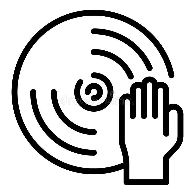 Mano sull'icona del disco, stile del profilo illustrazione vettoriale