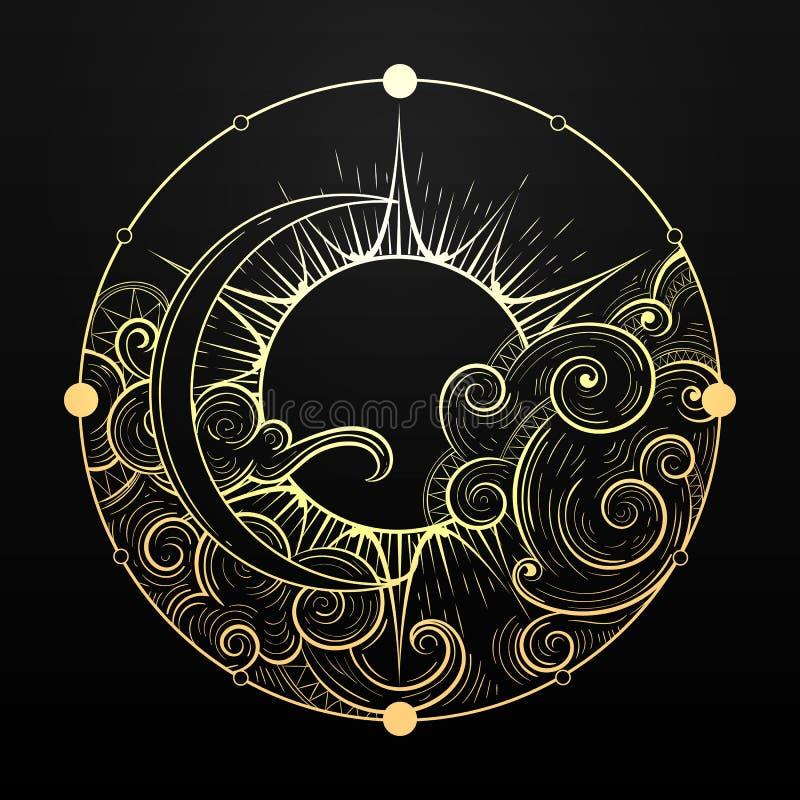 Mano Sun de oro exhausto y luna con símbolo esotérico de la nube Ilustraci?n del vector stock de ilustración