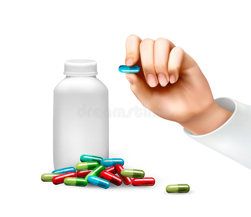 Mano, tenendo una pillola e una bottiglia delle pillole illustrazione vettoriale