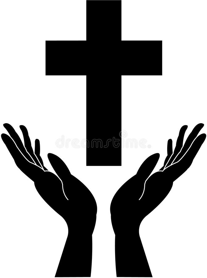 Mano trasversale e di preghiera-careing immagine stock