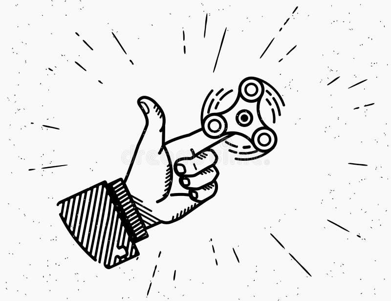 Mano umana che gioca con lo spiner girante veloce royalty illustrazione gratis