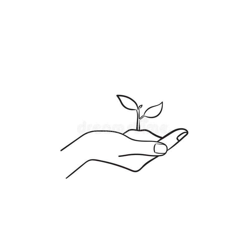 Mano umana con l'icona disegnata a mano di schizzo del germoglio royalty illustrazione gratis