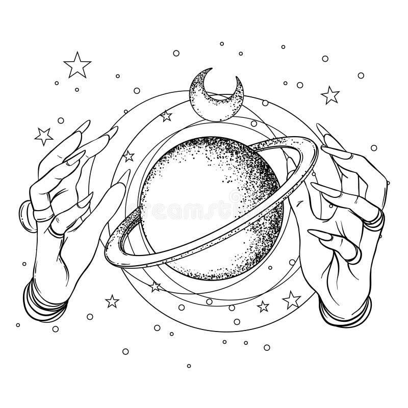Mano umana con spazio ed i simboli sacri della geometria Tatto di Dotwork illustrazione di stock