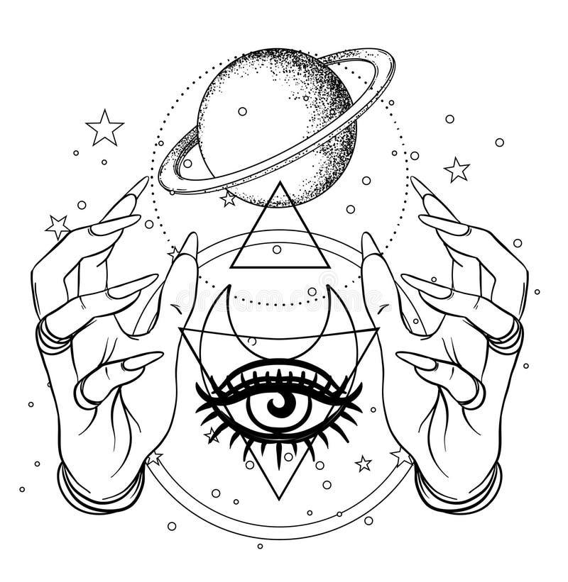 Mano umana con spazio ed i simboli sacri della geometria Tatto di Dotwork illustrazione vettoriale
