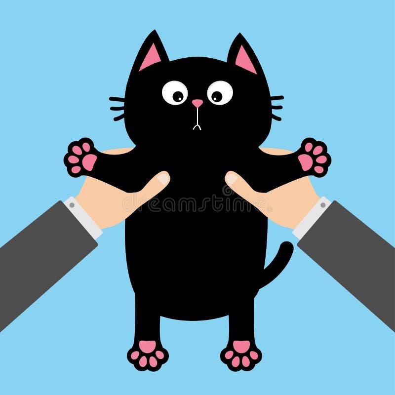 Mano umana dell'uomo d'affari che tiene il fronte divertente del gatto nero, stampa della zampa, baffi Personaggio dei cartoni an illustrazione di stock