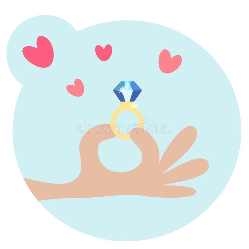 Mano umana di Cartooned che tiene un anello con il diamante illustrazione di stock