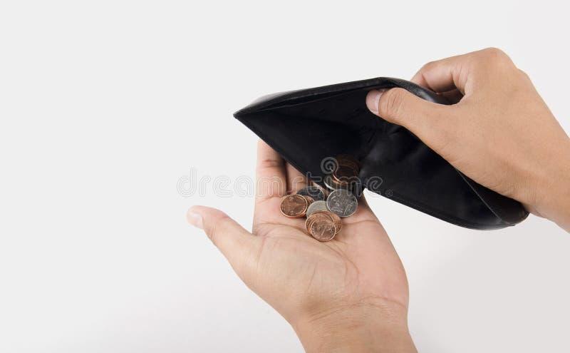 Mano umana e portafoglio vuoto - si è rotto fotografia stock