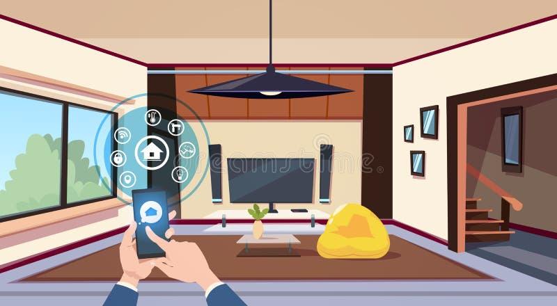 Mano usando interfaz elegante del App del hogar del panel de control sobre la tecnología moderna interior de la sala de estar de  stock de ilustración