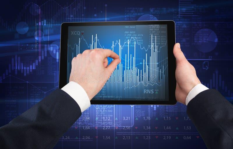 Mano usando la tableta y la comprobación de concepto financiero del informe imagenes de archivo