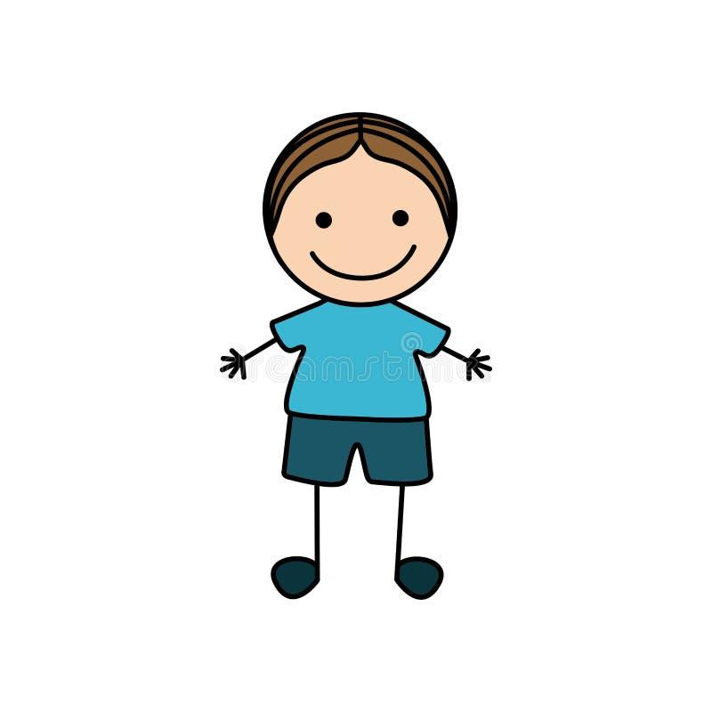 mano variopinta che disegna l'icona sveglia del ragazzo illustrazione vettoriale