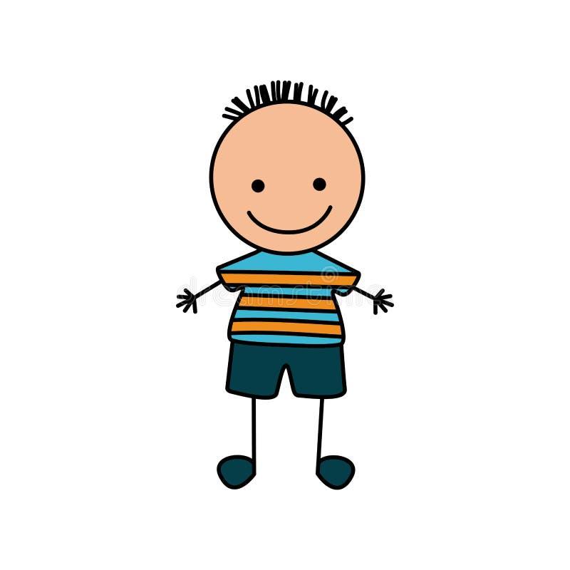 mano variopinta che disegna ragazzo sveglio con la camicia a strisce royalty illustrazione gratis